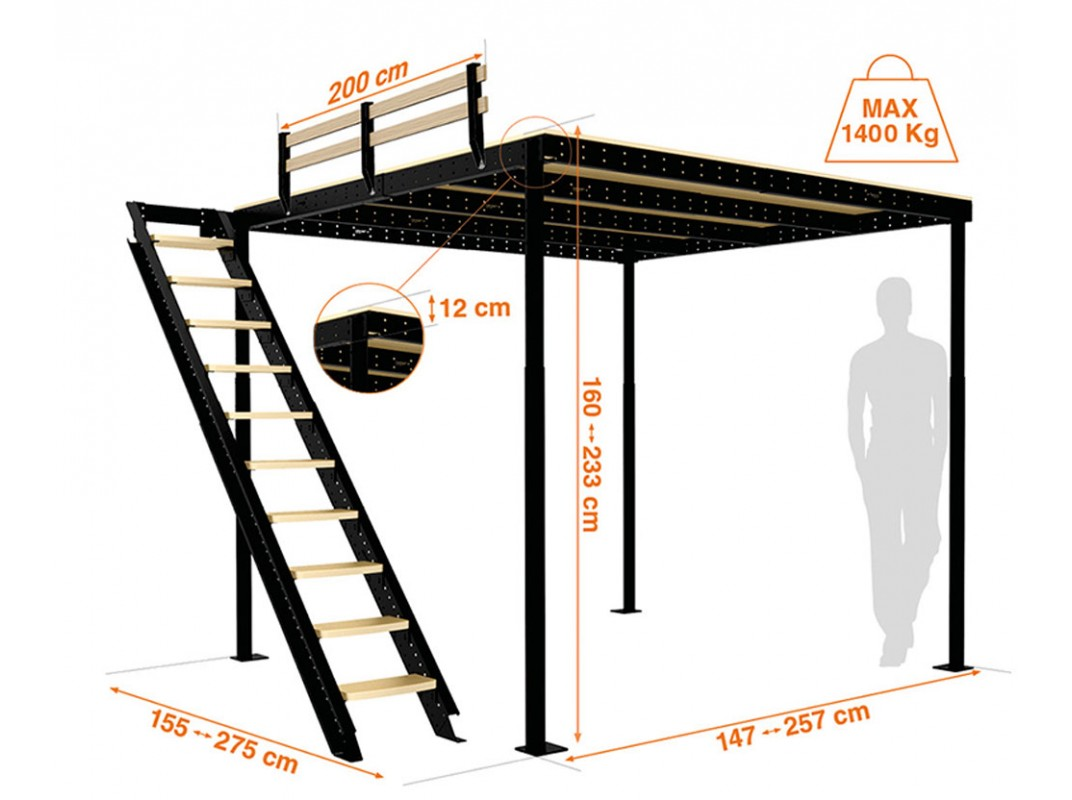 Loft Bed Kopen.Loft Bed Ts 8 With Lateral Stairs Tecrostar Com