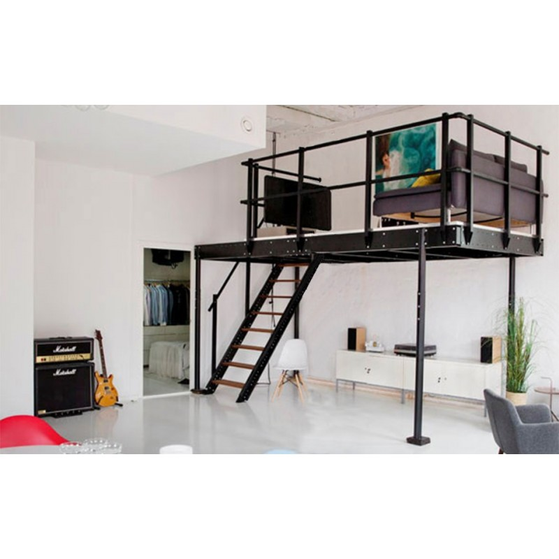 mezzanine tm 15 avec escalier droit m. Black Bedroom Furniture Sets. Home Design Ideas