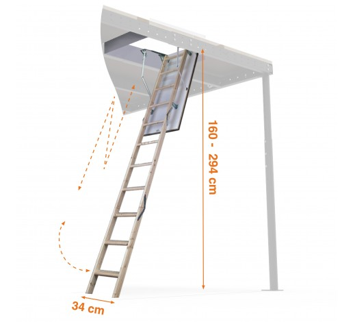 Escalera plegable para techos